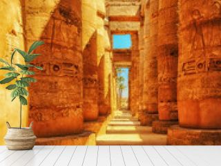 Great Hypostyle Hall at the Temples of Luxor (ancient Thebes). Columns of Luxor temple in Luxor, Egypt