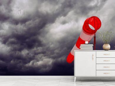 Sturmsack, aufkommendes Gewitter mit Sturm - Konzept