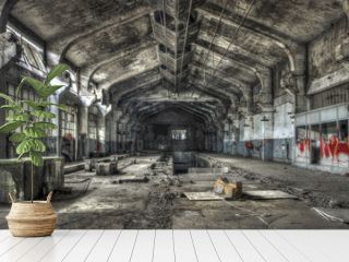 Dilapidated warehouse in an abandoned factory