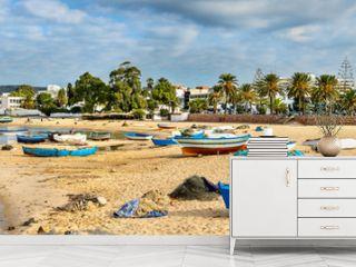 Wooden boats on the Mediterranean coast in Hammamet, Tunisia