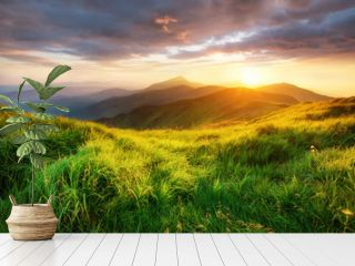 Mountain valley during sunrise. Beutiful natural landsscape in the summer time.
