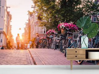 sunset on the streets and canals of Amsterdam