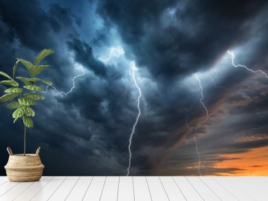 Lightning thunderstorm flash over the night sky. Concept on topic weather, cataclysms (hurricane, Typhoon, tornado)