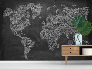 Doodle world map on a chalkboard background. Hand-drawn continents. Vector illustration. Ethnic patterns.