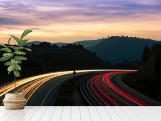 Highway Traffic Light Trails and Landscape With Mountains
