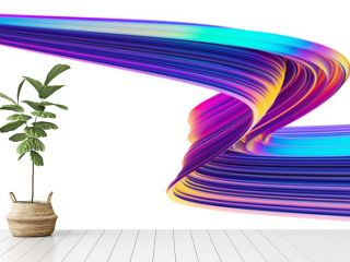 Iridescent abstract background with holographic ribbon fluid twisted shape