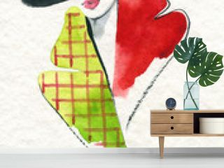 style coat. beautiful woman. fashion illustration. watercolor painting
