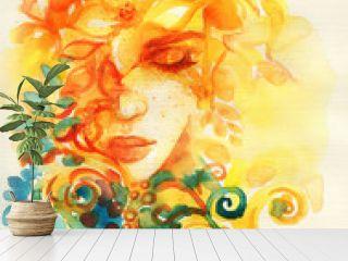 beautiful woman. fantasy illustration. watercolor painting