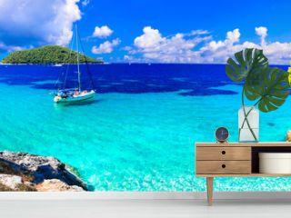 Best beaches of Skopelos island - beautiful Limnonari with amazing bay. Sporades islands of Greece