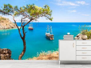 "Beautiful sea coast ""Paradise bay"" near Kemer, Turkey."
