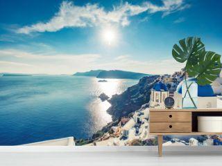 Churches in Oia, Santorini island in Greece, on a sunny day.