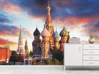 Moscow, Russia - Red square view of St. Basil's Cathedral at sunrise, nobody