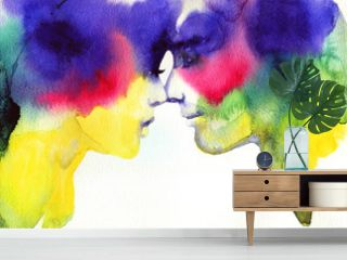 man and woman. fashion illustration. watercolor painting