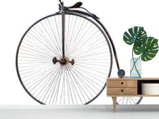 penny-farthing, high  wheel retro bike  on white background