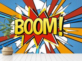 Comic speech bubble Boom! Explosive comic book, comics style vector template, pop art carto