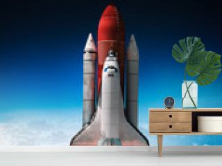 Space shuttle launch in outer space from Earth. Rocket on orbit of the planet. Border of blue sky with clouds and dark deep space. .Elements of this image furnished by NASA