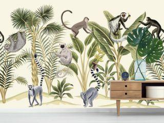 Tropical vintage botanical landscape, palm tree, banana tree, plant, sloth, monkey, lemur floral seamless border yellow background. Exotic green jungle animal wallpaper.