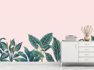 Tropical vintage plants floral botanical seamless border pink background. Exotic jungle wallpaper.