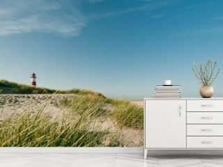 Lighthouse at coastline, Sylt, Germany