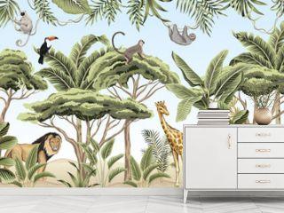 Vintage tree, palm tree, banana tree, plant, lion, indian elephant, giraffe, lion, monkey, sloth, toucan animal floral border blue background. Exotic safari wallpaper.