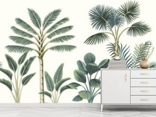 Tropical vintage Hawaiian palm trees, banana tree, plant floral seamless pattern white background. Exotic jungle wallpaper.