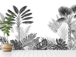 Tropical vintage botanical landscape, palm tree, banana tree, plant floral black and white seamless border white background. Exotic jungle wallpaper.
