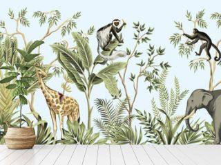 Tropical vintage botanical landscape, palm tree, banana tree, plant, palm leaves, giraffe, monkey, elephant floral seamless border blue background. Jungle animal wallpaper.