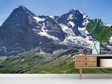 Switzerland, Panoramic view on Eiger, Monch and Jungfraujoch and green Alps around Mannlichen