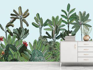 Jungle Exotic Tropical Forest Banana Tree Floral Border, Panorama View Tropic Mural Wallpaper Design, Horizontal Landscape Paradise Illustration, Summer Vacation Hawaii