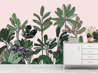 Seamless Border India Style Palms Exotic Plants, Wildlife Elephant and Sloth on Banana Trees Pink Background, Animals in Jungle Panorama Landscape Mural Wallpaper