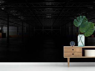 3d rendering of dark empty factory interior or empty warehouse