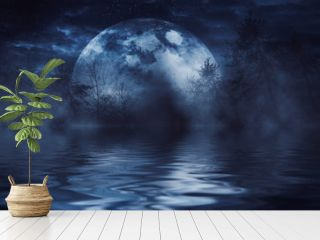 Reflection of the full moon on the water. Dark dramatic background. Moonlight, smoke and fog