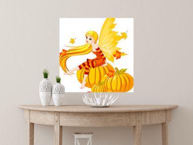 Autumn Fairy on the Pumpkin