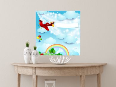 Spring landscape with airplane and banner