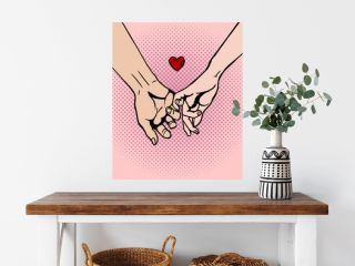 Couple in love hold hands pop art vector