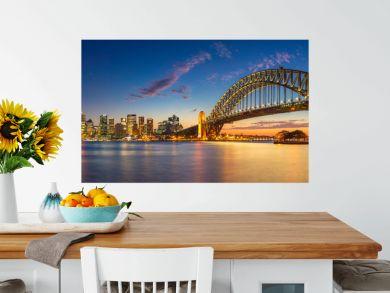 Sydney. Panoramic image of Sydney, Australia with Harbour Bridge during twilight blue hour.