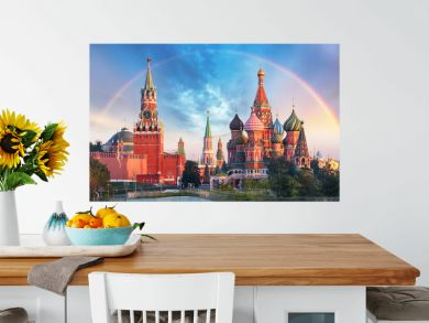 Moscow - Panoramic view of the Red Square with Moscow Kremlin and St Basil's Cathedral with rainbow
