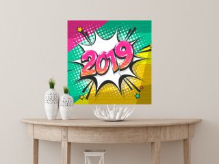 2019 happy new year christmas comic text speech bubble. Colored pop art style sound effect. Halftone vector illustration banner. Vintage comics book poster. Colored funny cloud font.