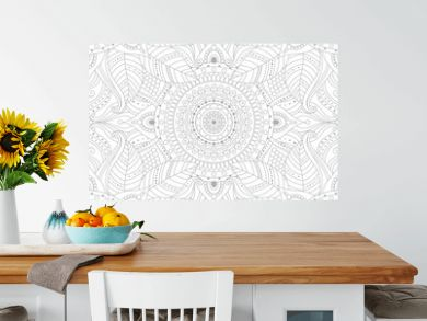 Gray and white ethnic boho seamless pattern. Tribal vintage background with floral mandala, oriental ornament. Vector art.