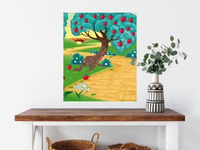 Wood with fruit trees. Cartoon and vector illustration