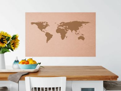 brown recycled paper with Icon ecological map world