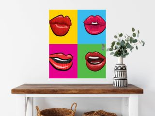 Sexy  red lips with teeth pop art set backgrounds. Vector illustration