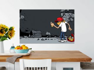 Cartoon graffiti artist at work