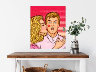 Pop art sexy woman with red lipstick kissed a man