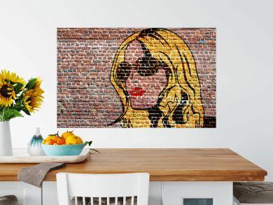 Graffiti, Portrait pop art d'une jeune femme blonde