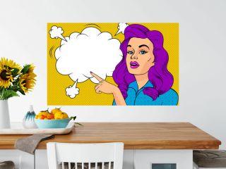 Pop art Sexy Woman and empty speech bubble.