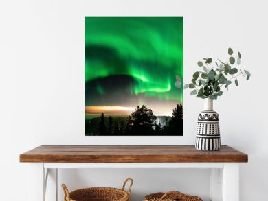 Northern Lights at partly clear skies with thick fog shines above Swedish foggy forest landscape in mountains, green northern lights belt curved above horizon line, Northern Sweden, Scandinavia